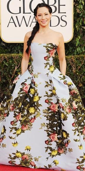 Lucy Liu in Carolina Herrera
