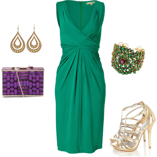 Emerald Green Evening Look via Polyvore