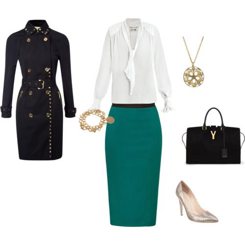 Emerald Green Work look via Polyvore