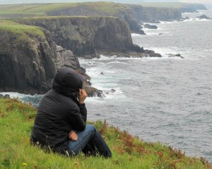 Taking in the beauty of stunning cliffs of Ireland.