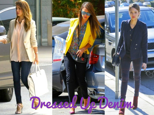 Jessica Alba, Dressed Up Denim, Casual Style