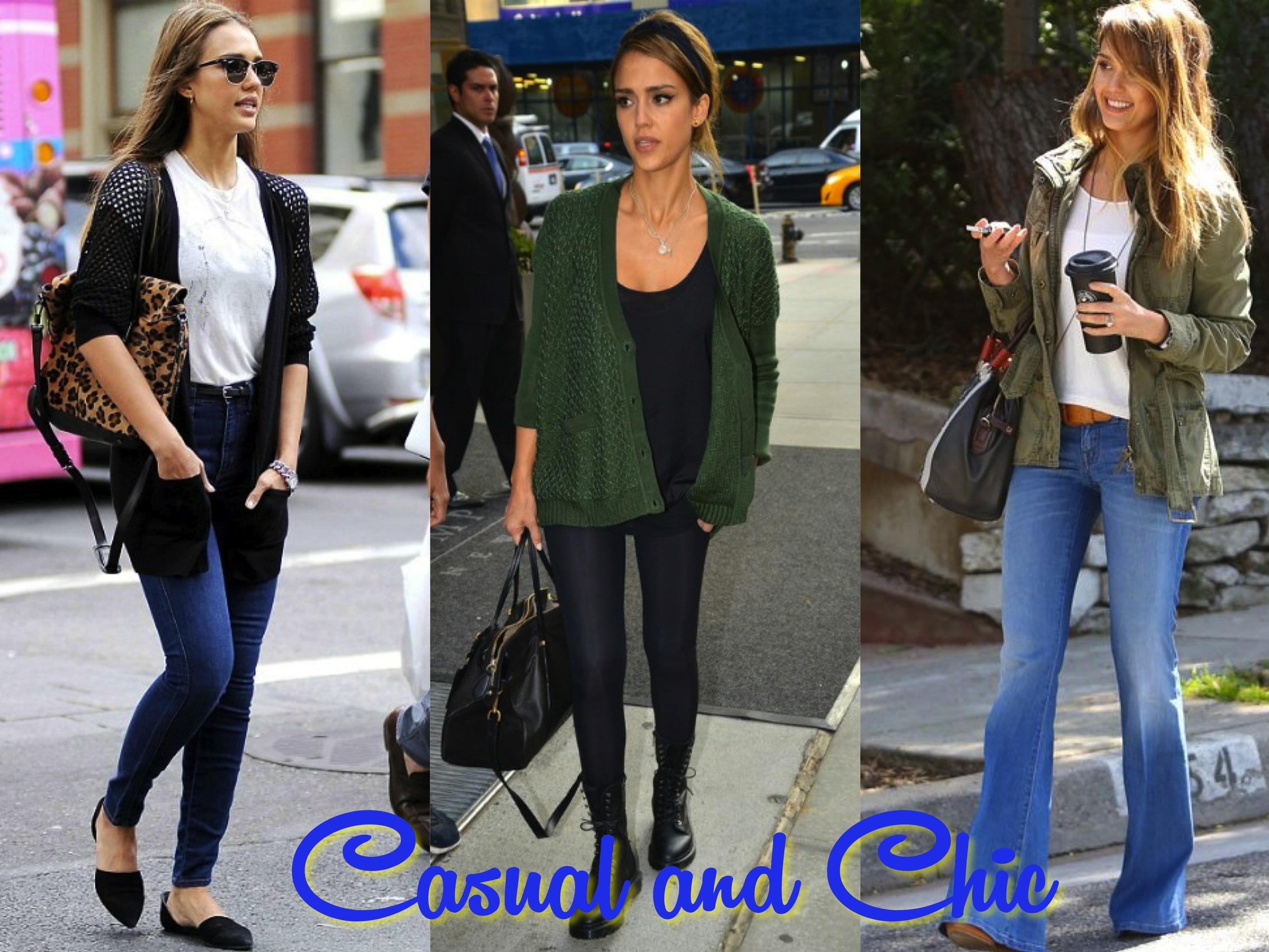Jessica Alba Dressed Up Denim Casual Style