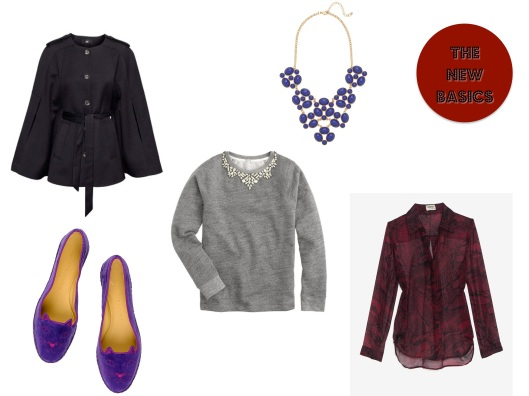 The New Basics, Cape, Embellished Sweater, Statement Necklace, Python Print, Fun Flats