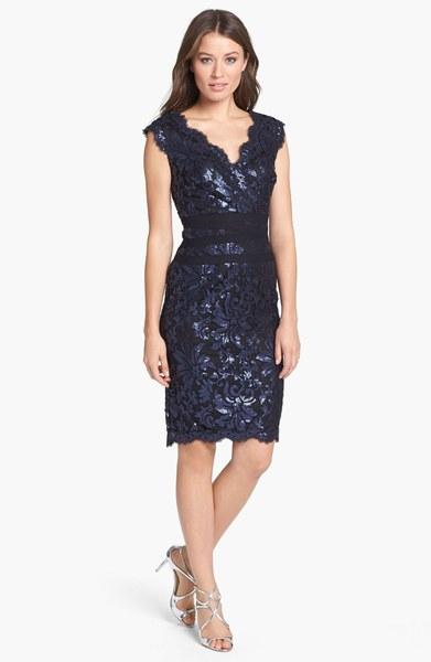 Tadashi Shoji Sequin Lace Sheath Dress